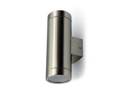 LED nástěnné svítidlo válec 2xGU10 leštěná ocel IP44 (VT-7642-7507)
