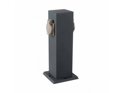 vtac 8820 v tac vt 1155 2 2 ways garden outdoor socket 16a eu standard stainless steel dark grey body ip44 sku 8820 2b6