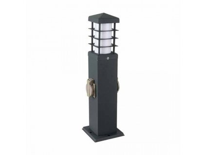 vtac 8822 v tac vt 1156 2 2 ways garden outdoor socket 16a eu standard with holder 1xe27 stainless steel dark grey body ip44 sku 8822 189