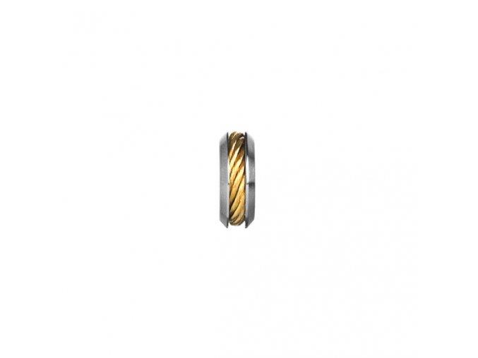 Ocelový korálek se žlutě zlaceným lankem
