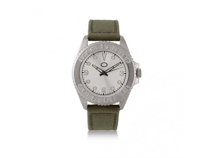 Unisex analogové hodinky s khaki textilním řemínkem