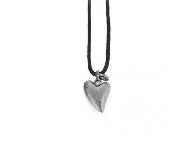 Dámský náhrdelník s tmavým stříbrným SRDCEM a briliantem