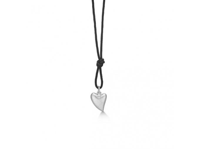 Dámský náhrdelník se stříbrným SRDCEM a briliantem