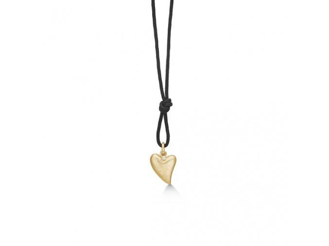 Dámský náhrdelník se stříbrným zlaceným přívěskem SRDCE a briliantem