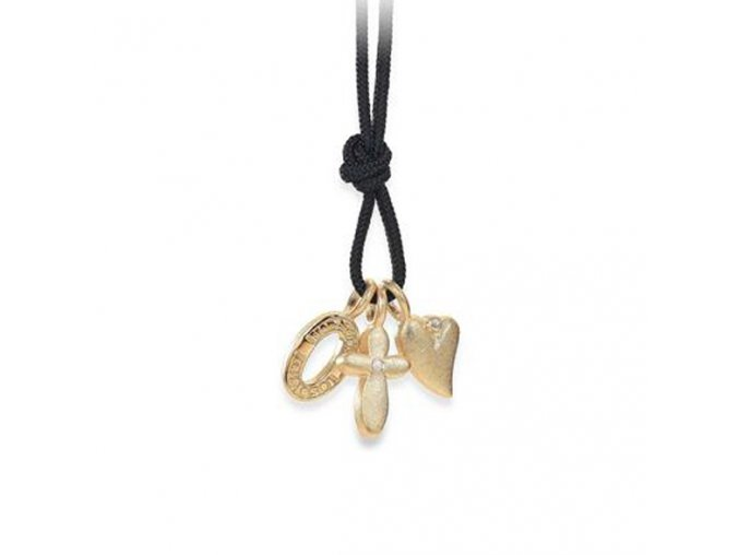 Dámský náhrdelník se stříbrnými zlacenými přívěsky a brilianty