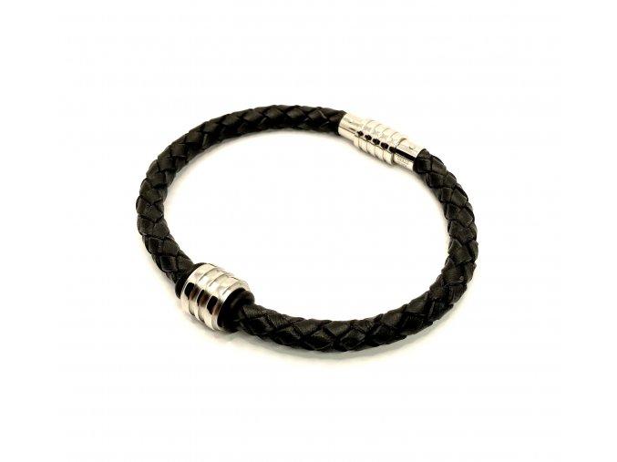 Pánský černý kožený náramek s ocelovým korálkem