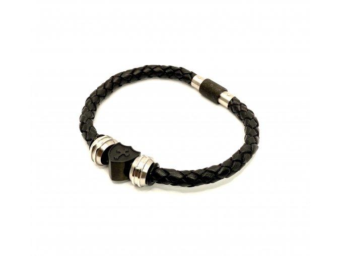 Pánský černý kožený náramek CROSS s ocelovými korálky