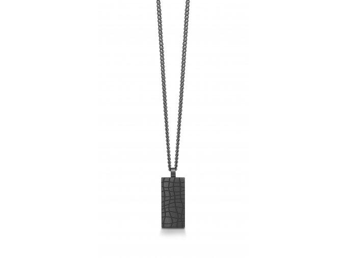 Ocelový náhrdelník s přívěskem GUN METAL SÍŤ DESTIČKA