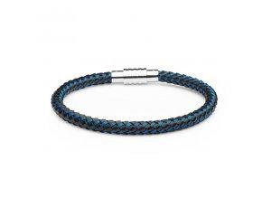Černý kožený náramek protkaný modrými ocelovými drátky