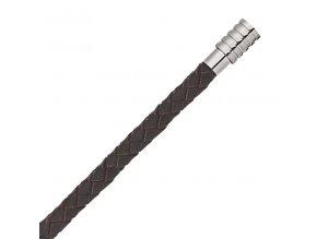 Hnědý kožený pletený náramek