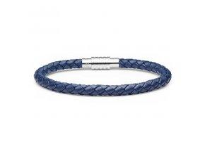 Modrý kožený pletený náramek