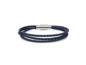 Modrý trojitý kožený náramek