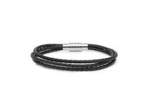 Černý trojitý kožený náramek pletený