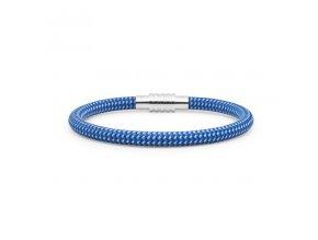 Modrý nylonový náramek protkaný světlou nití