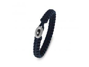 Pánský modrý náramek PARACORD se stříbrnou sponou