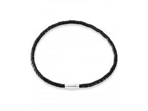 Černý pletený kožený náhrdelník