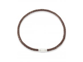 Hnědý kožený pletený náhrdelník