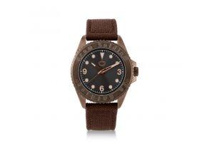Unisex analogové hodinky s hnědým textilním řemínkem