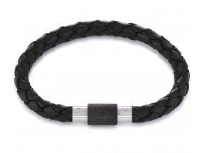 Černý kožený náramek s černou perleťovou sponou