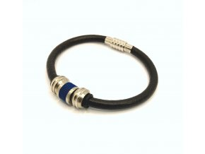 Pánský černý kožený náramek modrý samuraj s ocelovými korálky