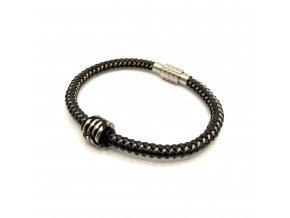 Pánský černý kožený náramek s ocelovými drátky a korálkem