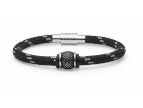 Černý nylonový náramek zdobený bílou nití s ocelovým korálkem