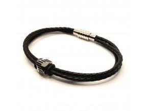 Černý kožený náramek pletený s korálkem