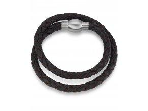 Prodloužený pletený kožený náramek s ocelovým CAMPAGNE