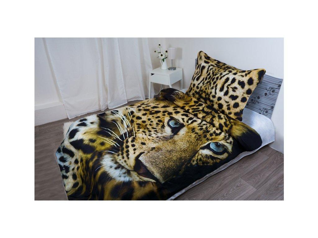 10446 1 aaryans bavlnene povleceni leopard face 3d 140x200 70x90cm