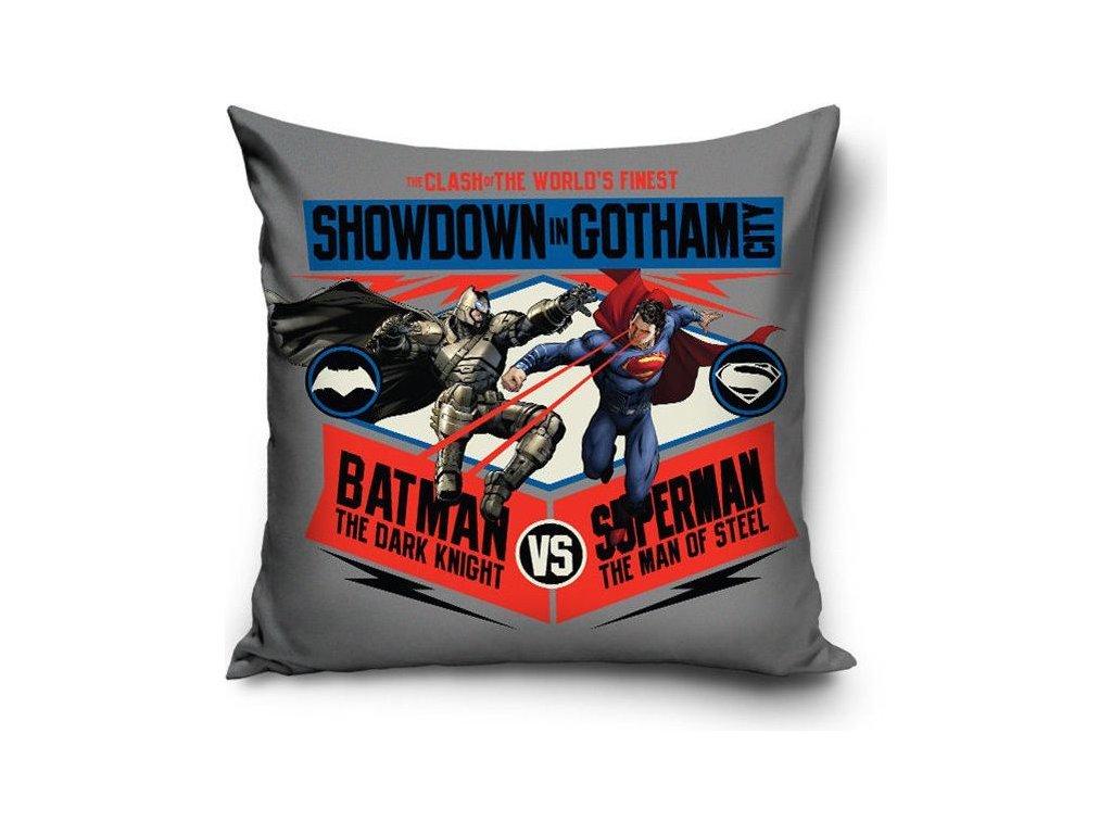 Povlak na polštář BATMAN VS SUPERMAN ŠEDÝ 40x40cm