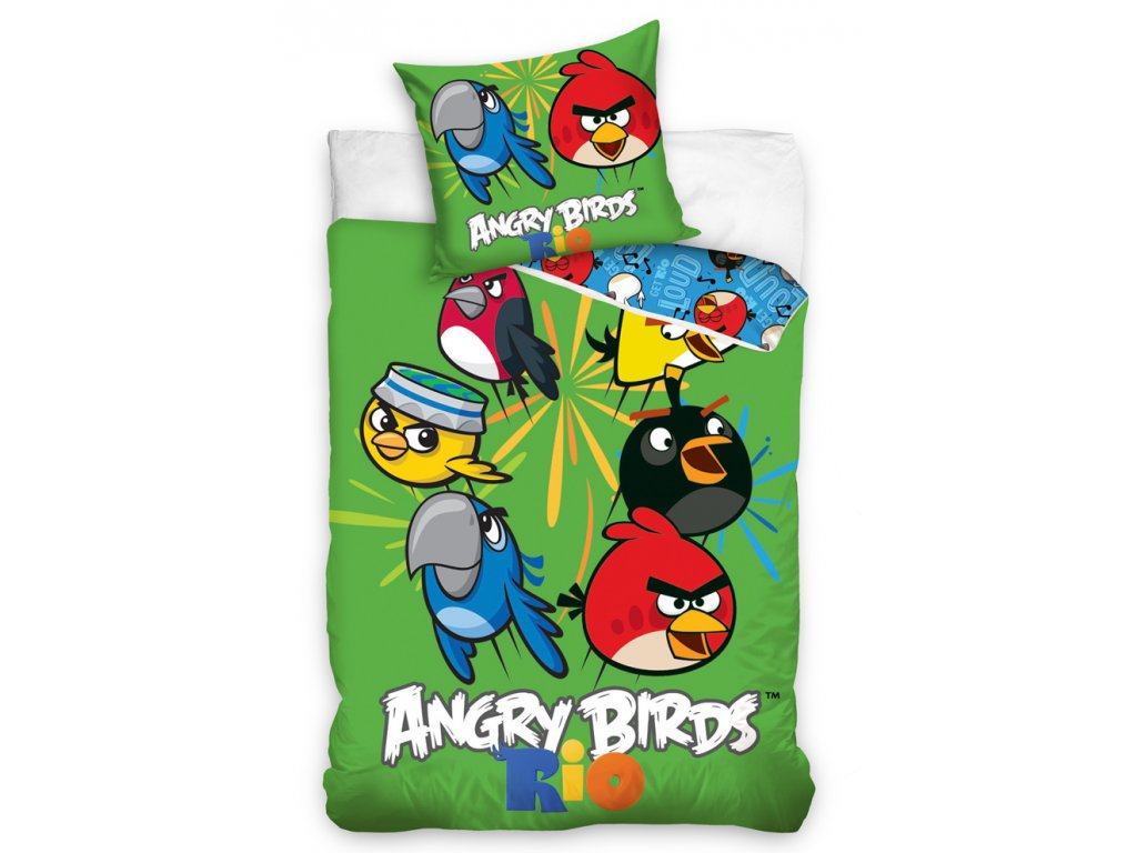 Carbotex Bavlněné povlečení Angry Bird MIX 140x200/70x80