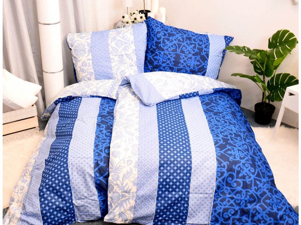 23336 aaryans bavlnene povleceni gergana modre 140x200 70x90cm