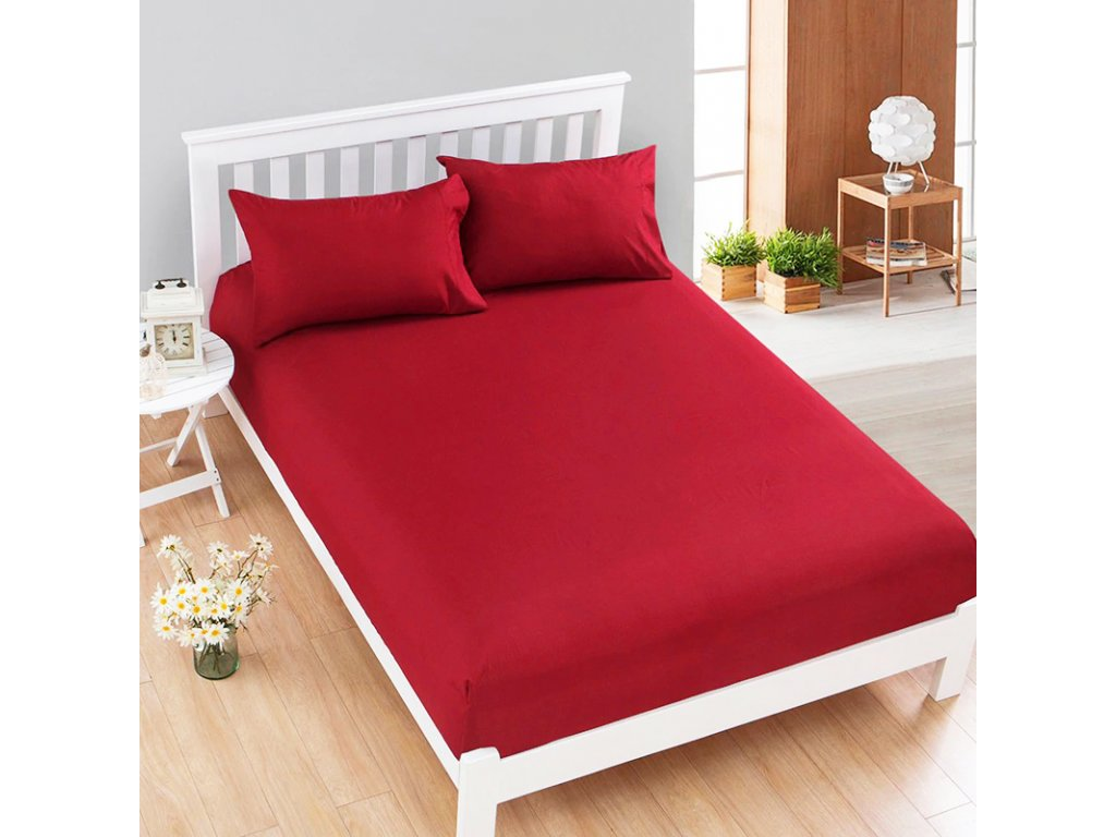 Jersey prostěradlo červené (Rozměry 90 x 200 cm)