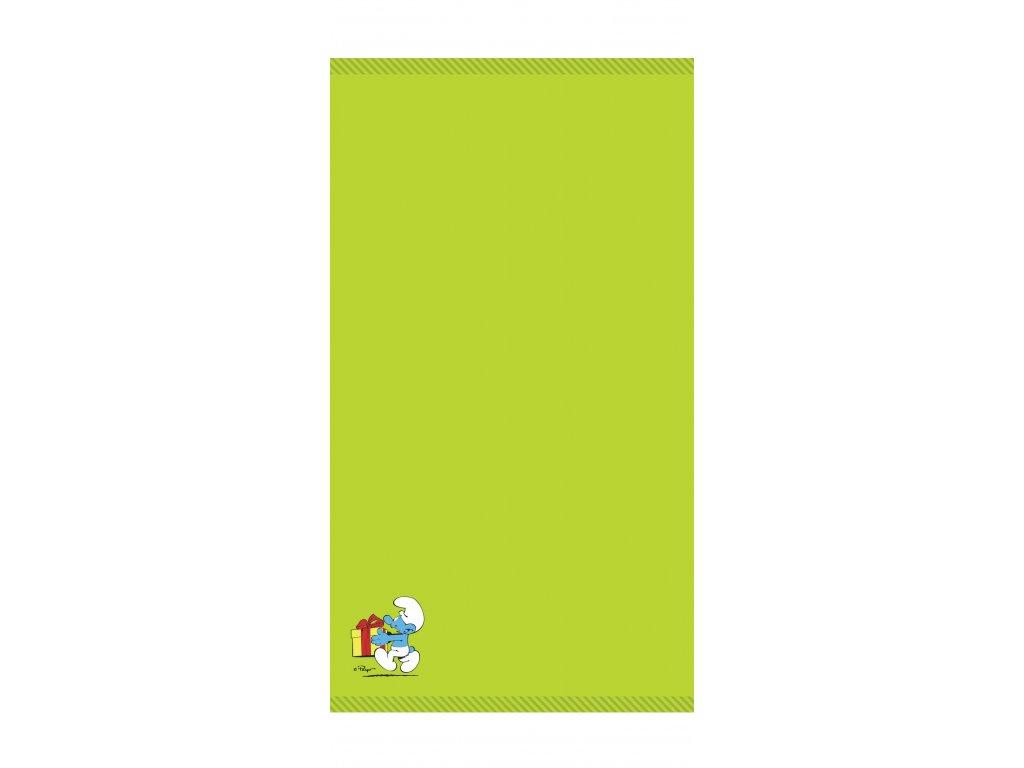 Osuška Šmoulové- zelená 70x140