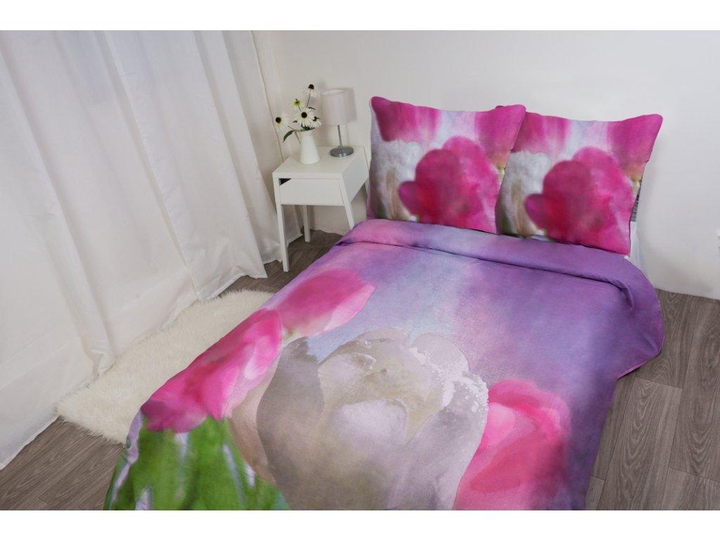 6325 1 flori bavlna povleceni 3d tulipany 200x220 70x80