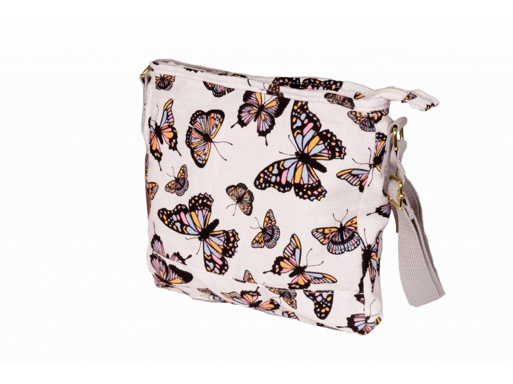 Látková taška s motýly - bílá JBCB 184