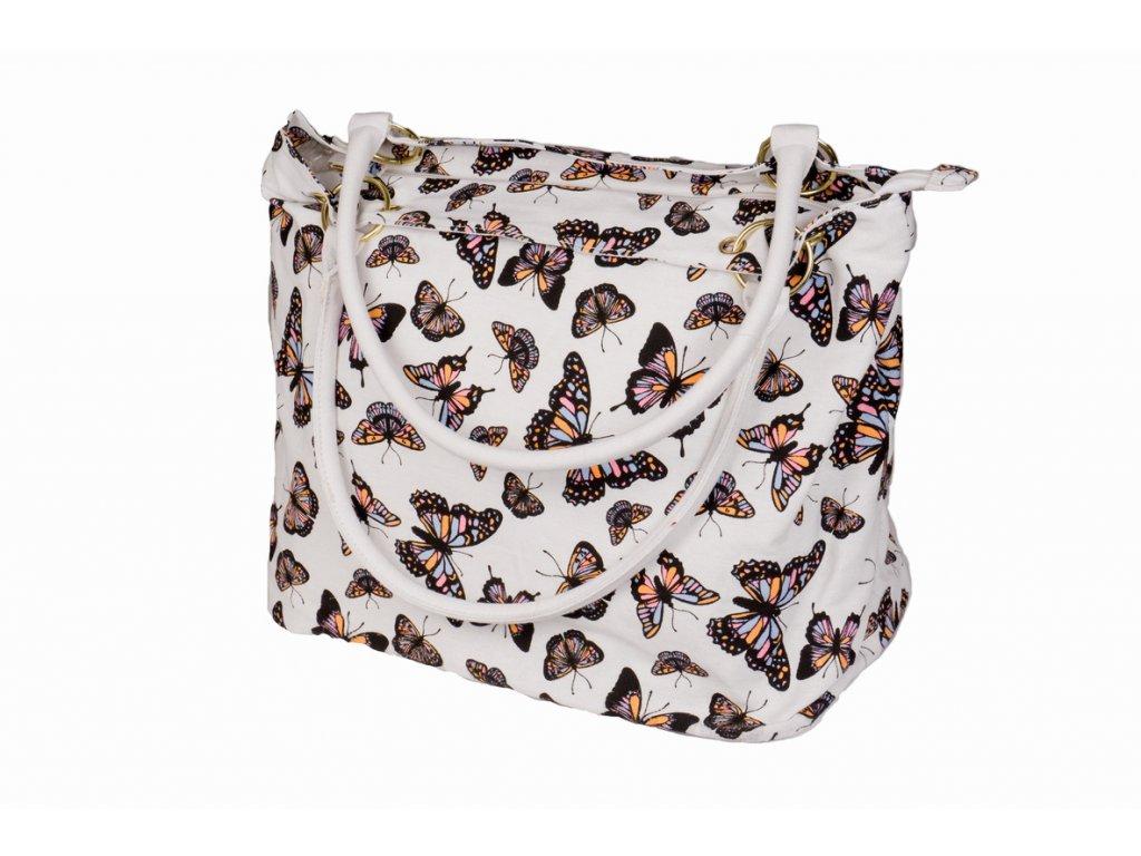 Látková taška s motýly - bílá JBCB 189_18