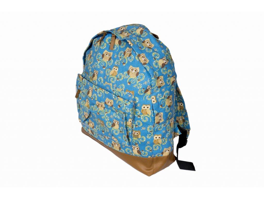 Látkový batoh se sovami - světle modrý JBCB 162