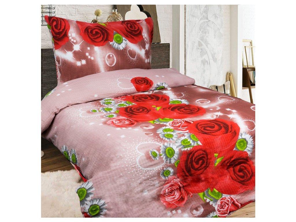 8668 aaryans krepove povleceni red rose 140x200 70x90cm