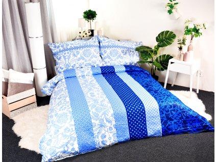25292 francouzske bavlnene povleceni gergana modre 1x 200x220 2x90x70