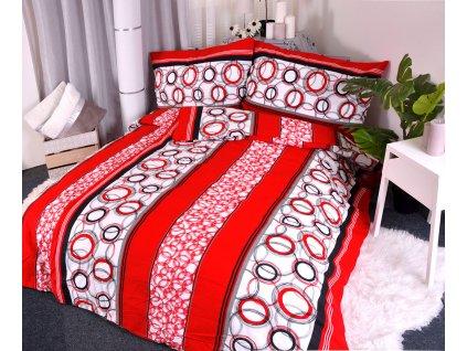 27308 flanelove povleceni red circles 140x200 90x70cm