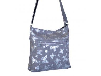 Látková taška s motýly - 90402010 šedá