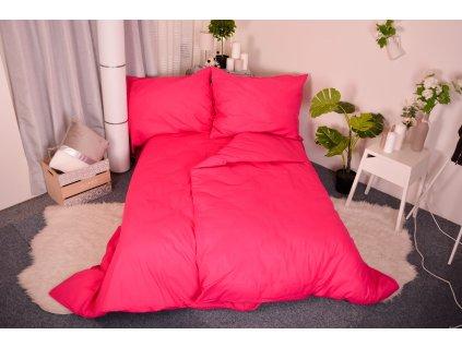 Aaryans Bavlněné povlečení MONO zářivě růžové 140x200/70x90
