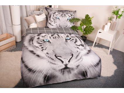 Set přikrývka 140 x 200cm + polštář  70 x 90cm /3D Tygr