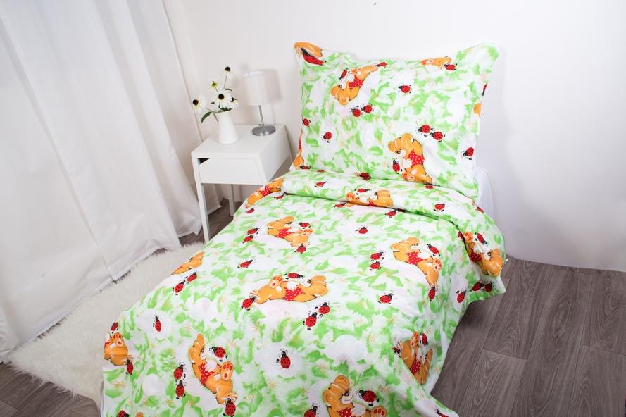 Dětské povlečení bavlněné Medvídek - zelené 140x200/70x90