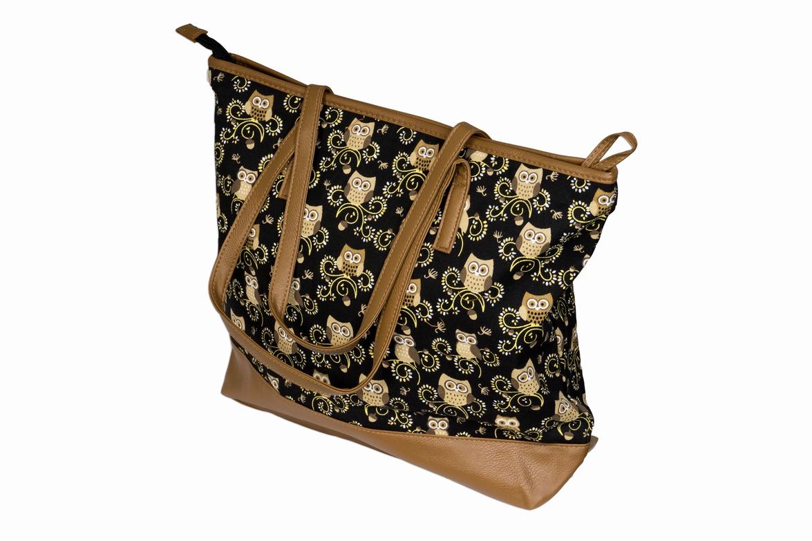 Látková taška se sovami - černá JBSH 004