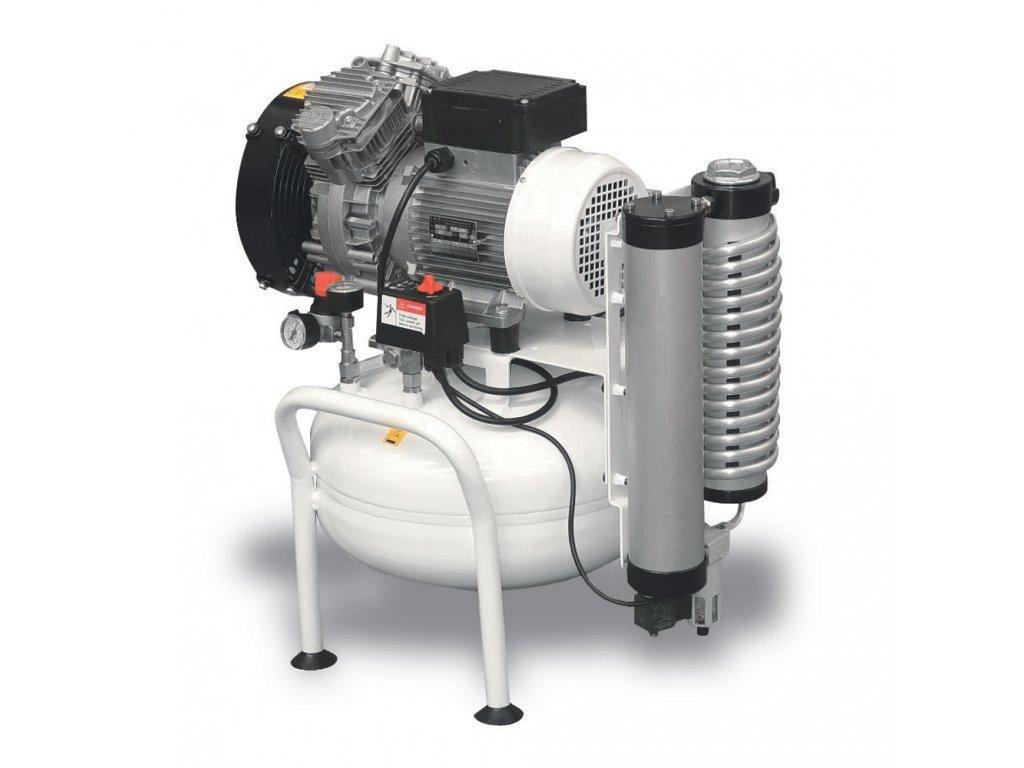 Dentálny kompresor Clean Air CLR-1,5-25MD  príkon 1,5 kW, sací výkon 350 l/min, tlak 8 bar, vzdušník 25 l, napätie 230/50 V/Hz