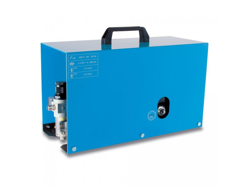 Odhlučnený kompresor Silent Mini AM20-1,5RM  príkon 0,13 kW, sací výkon 20 l/min, tlak 6 bar, vzdušník 1,5 l, napätie 230/50 V/Hz