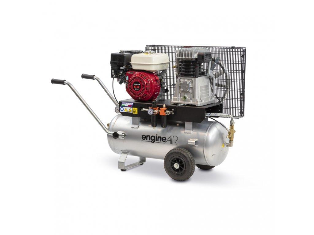 Benzínový kompresor Engine Air EA6-4,3-50CP  príkon 4,3 kW, sací výkon 454 l/min, tlak 10 bar, vzdušník 50 l