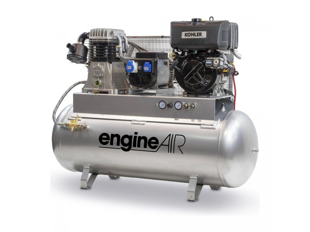 Dieselový kompresor s elektrocentrálou Engine Air EA11-7,5-270FBD  príkon 7,5 kW, sací výkon 605 l/min, tlak 10 bar, vzdušník 270 l